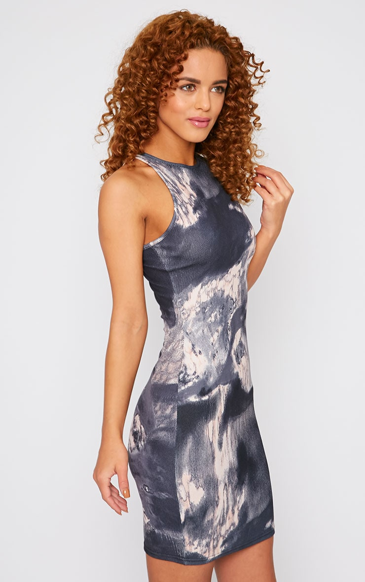 Amina Grey Marble Print Bodycon Mini Dress 4