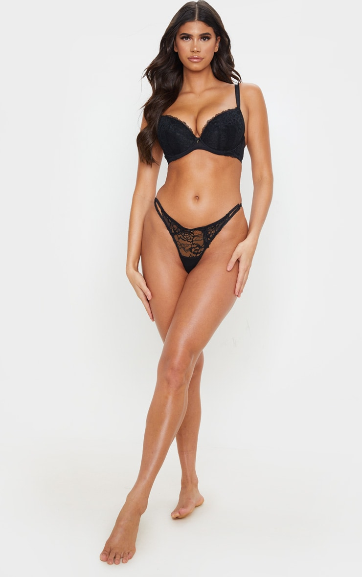 Black Ann Summers DD+ Plunge Sexy Lace Bra 3