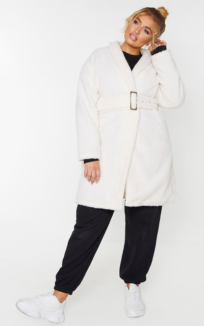 Plus Cream Borg Belted Oversized Coat