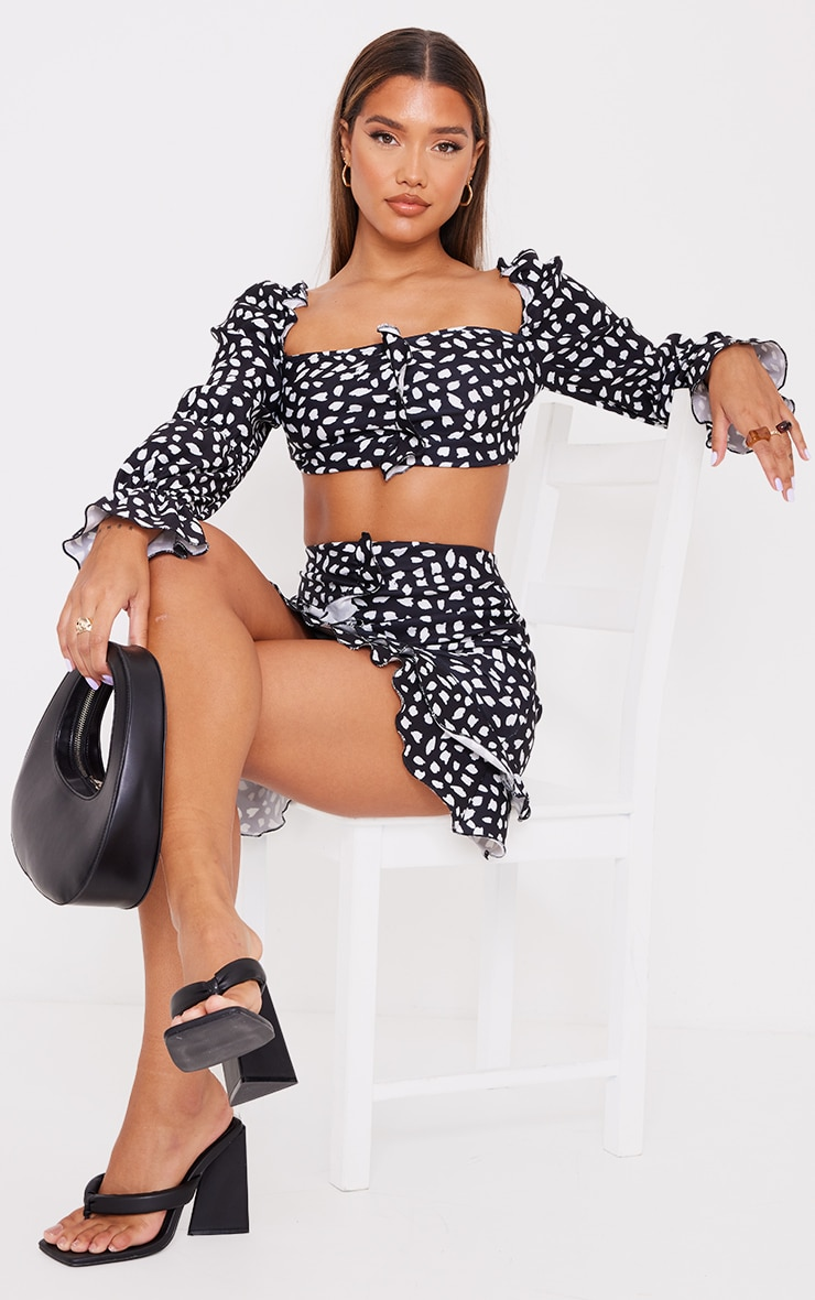 Black Dalmatian Print Stretch Woven Frill Ruched Front Long Sleeve Crop Top 1