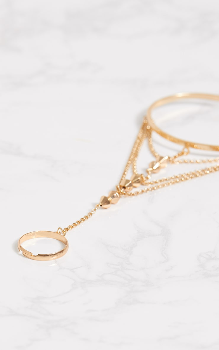 Gold Bead Hand Cuff Chain 4