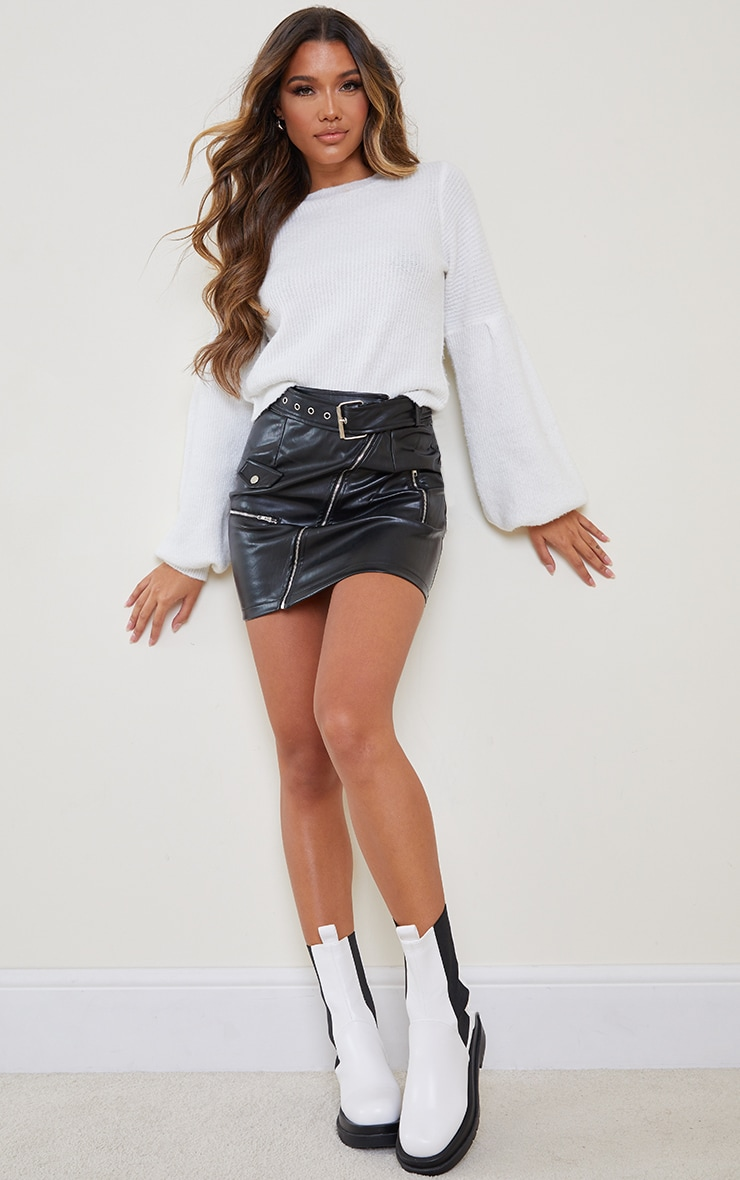 Black Faux Leather Biker Belted Mini Skirt 4