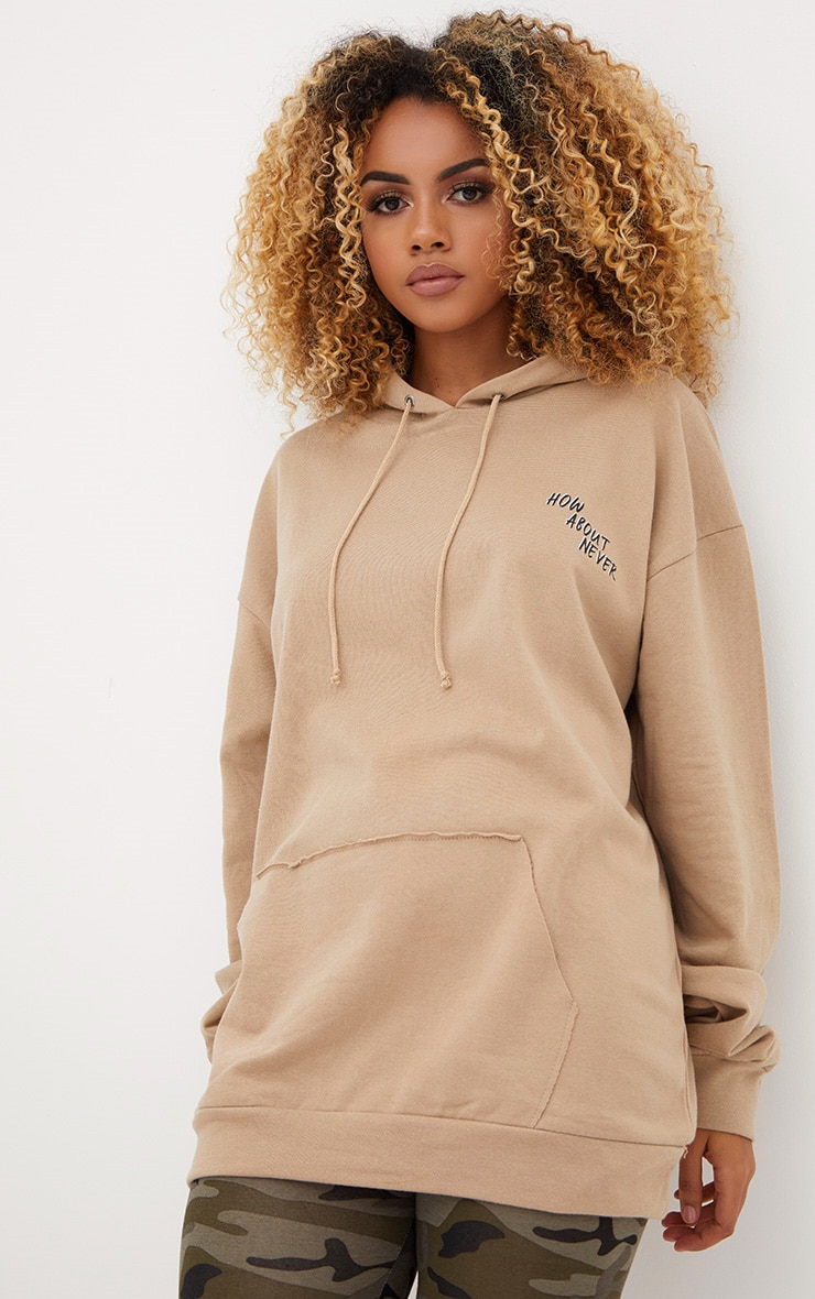Taupe How About Never Slogan Oversized Hoodie  1