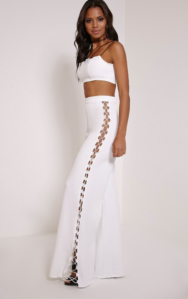 Loiss Cream Lace Up Side Wide Leg Trousers 1