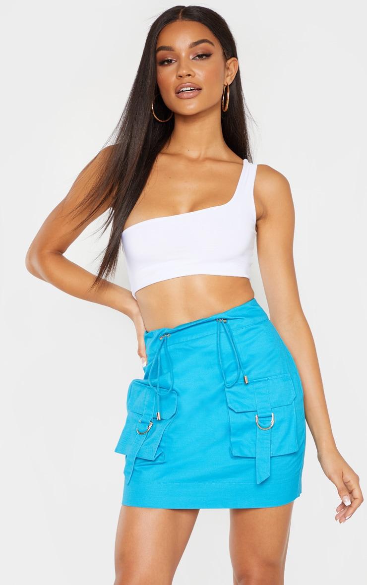 Bright Blue Cargo Pocket Detail Mini Skirt 5