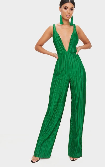 Green Plisse Plunge Strappy Jumpsuit 725651e3f