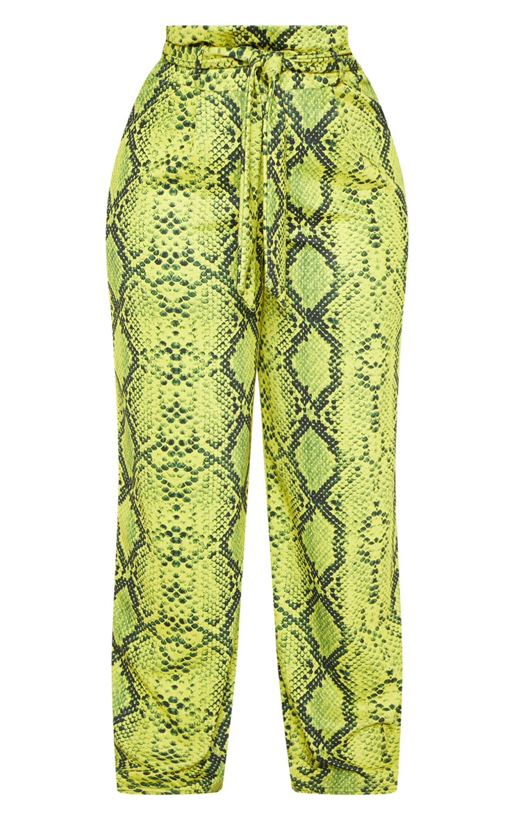 Plus Neon Yellow Snake Print Paperbag Tie Waist Wide Leg Pants  3