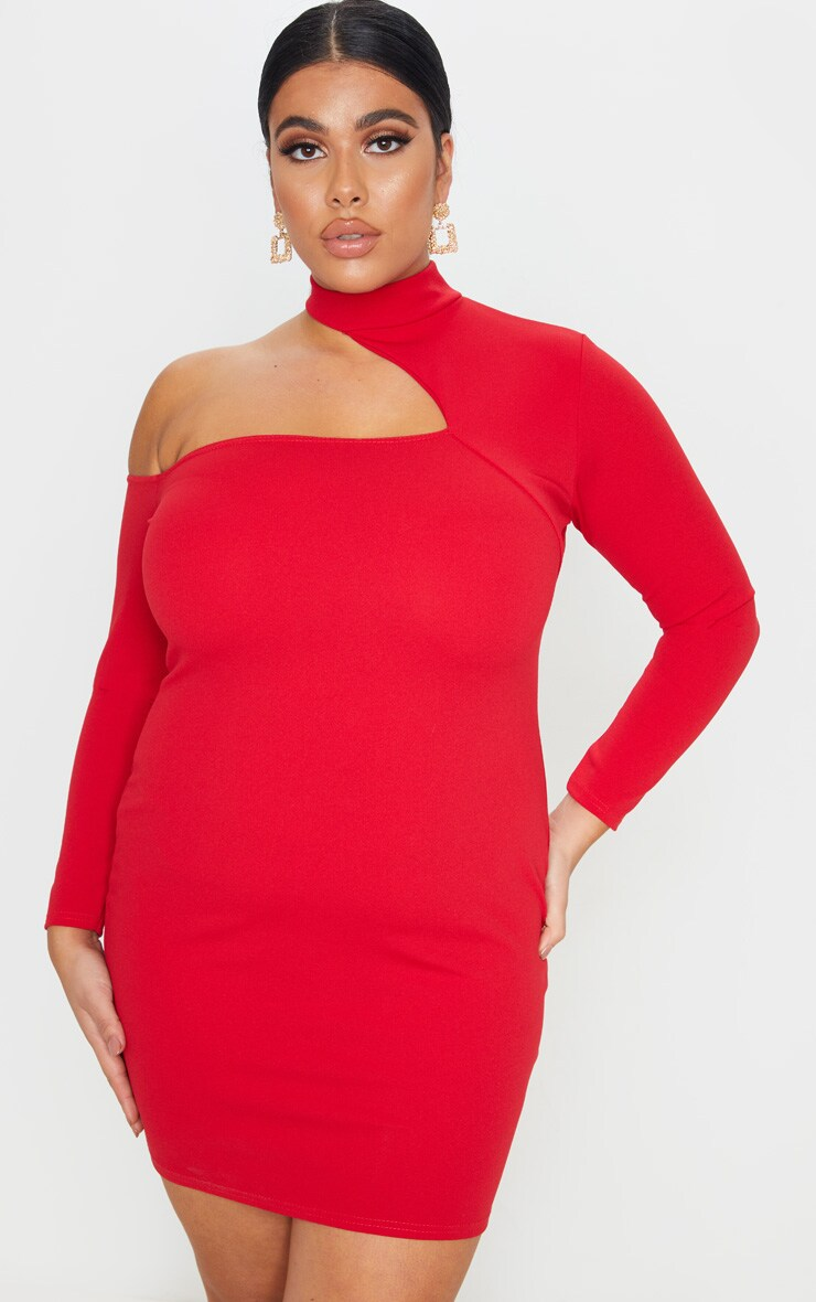 Plus Red Crepe One Shoulder Choker Bodycon Dress 4