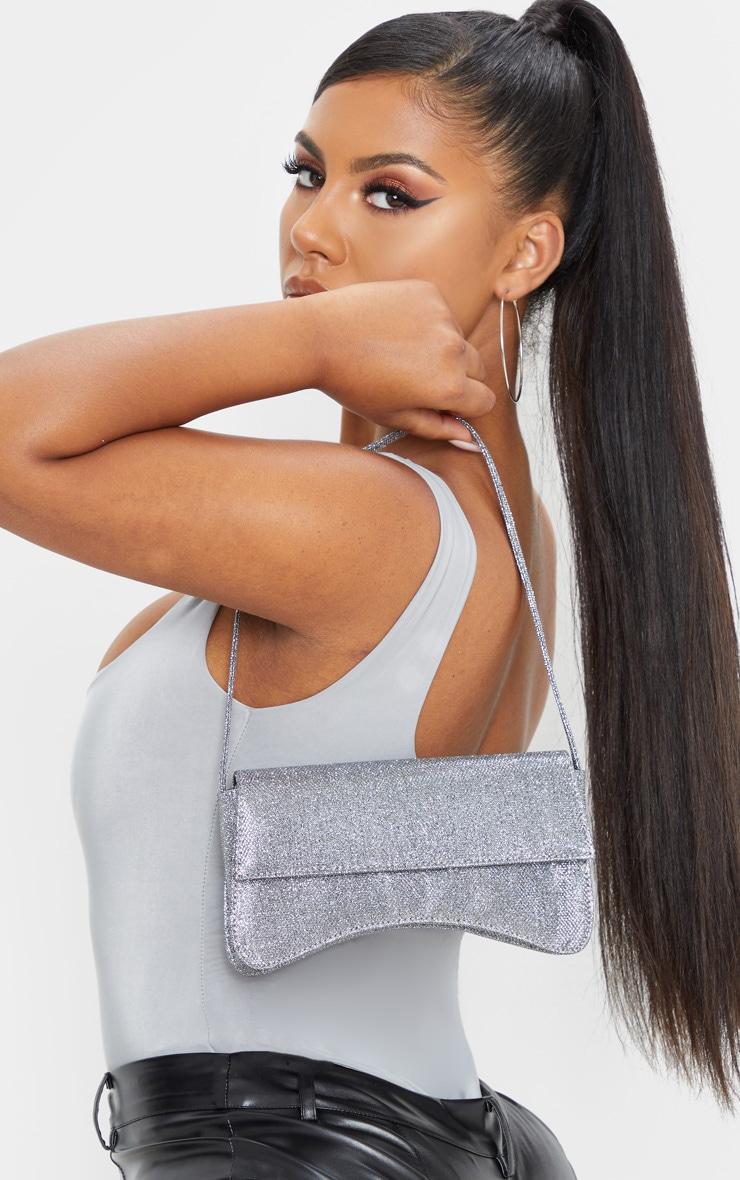 Silver Textured Glitter Flap Over Baguette Shoulder Bag     1