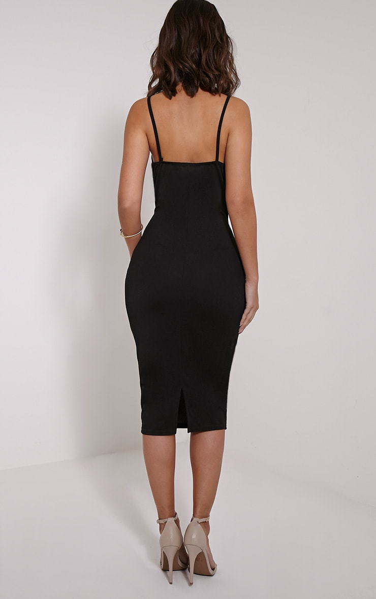Maysie Black Cross Front Cut Out Bodycon Dress 2