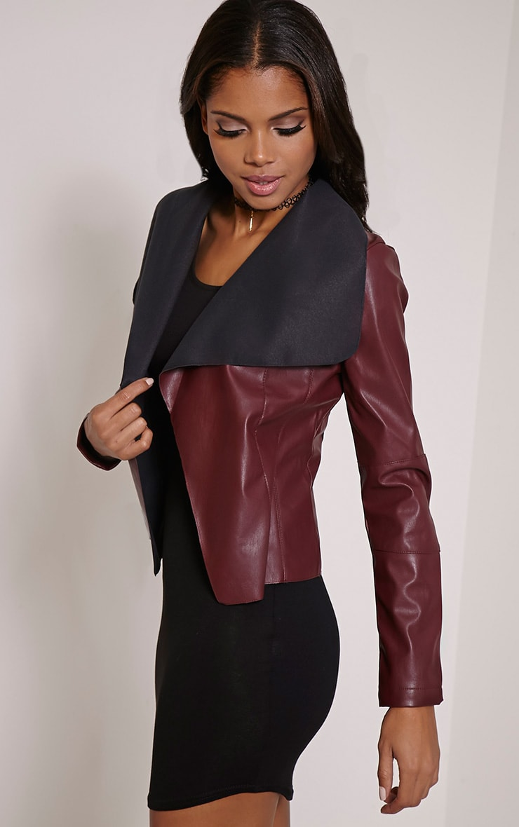 Mischa Burgundy Faux Leather Waterfall Jacket 3