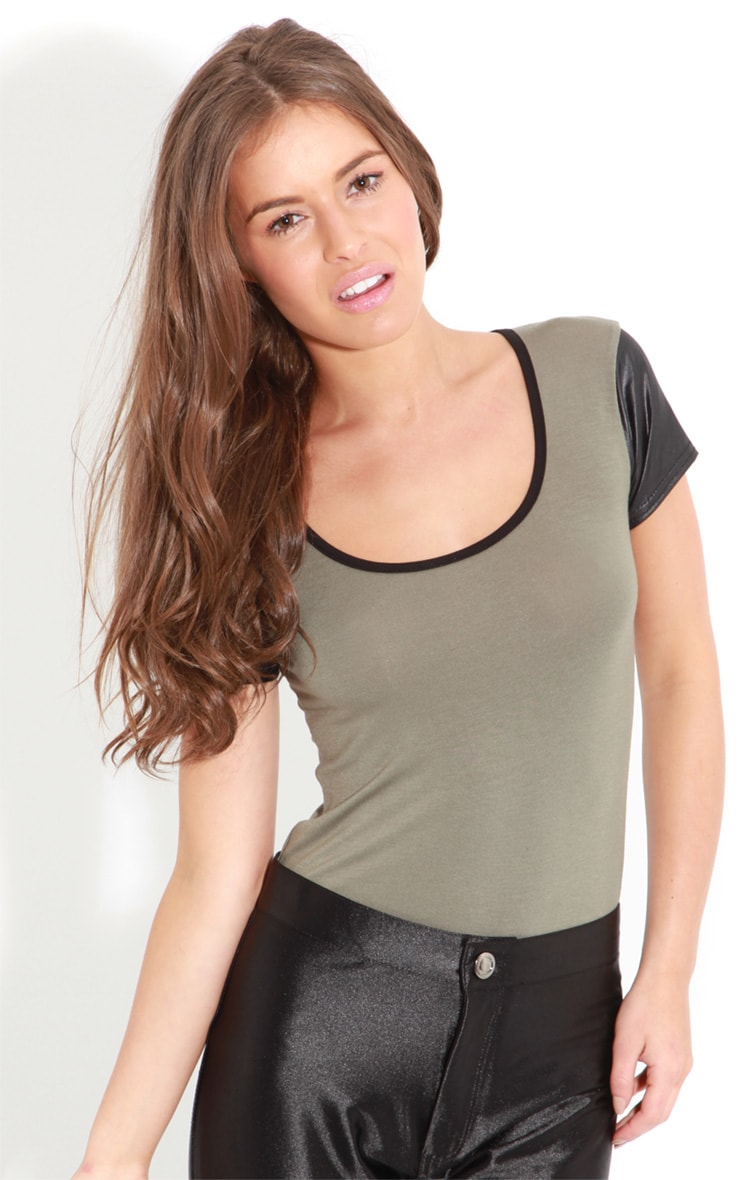 Cleo Khaki Tee With Leather Sleeves 4