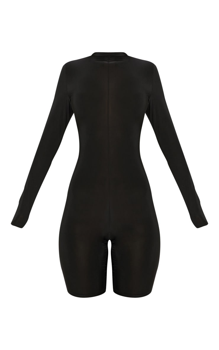 Black Slinky Seam Front High Neck Unitard 3