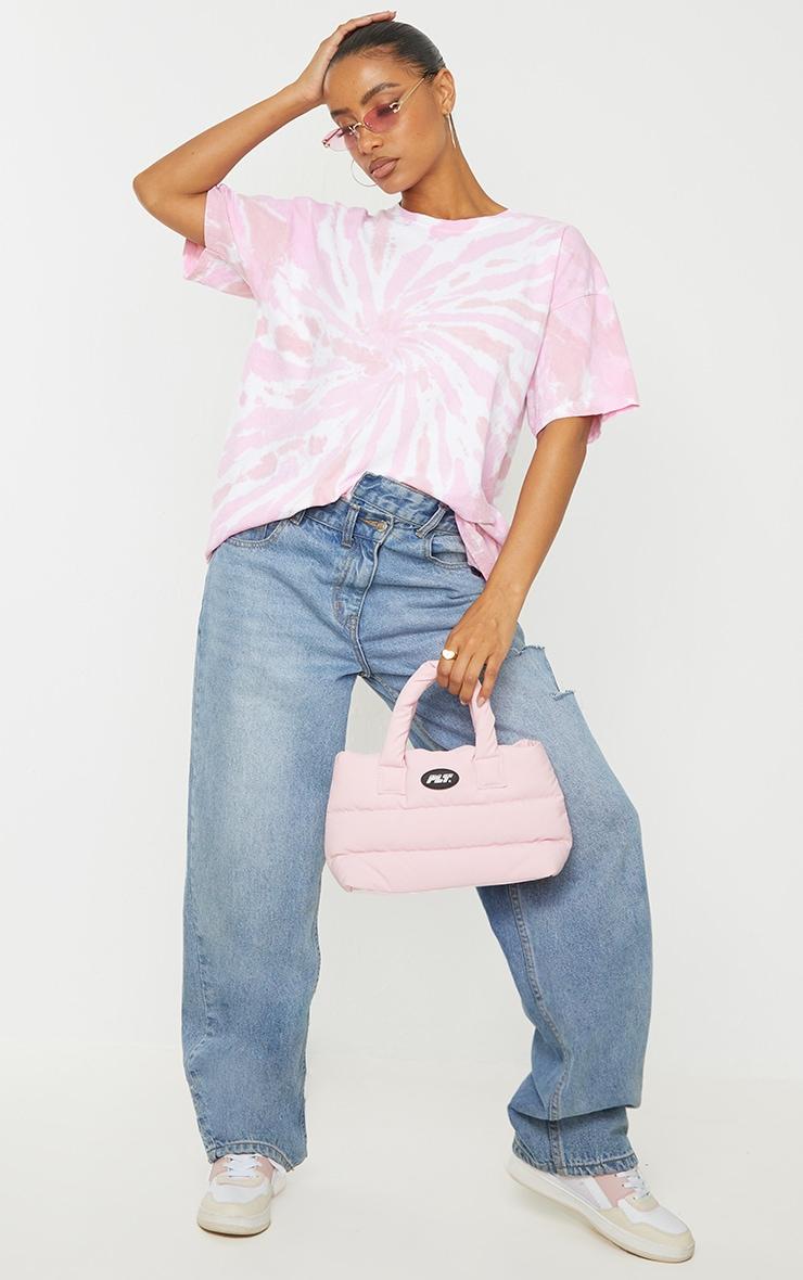 Pink Tie Dye Print Oversized T Shirt 1