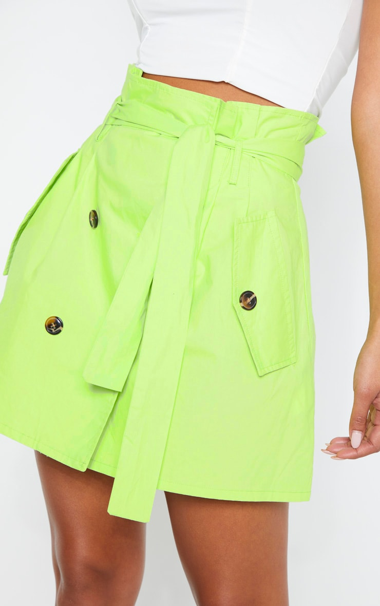 Lime Trench Tie Waist A line Mini Skirt 6