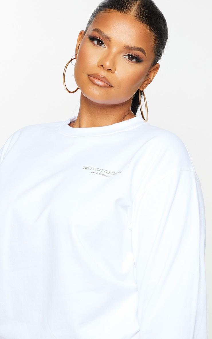 PRETTYLITTLETHING Plus Cream Branded Sweatshirt 4
