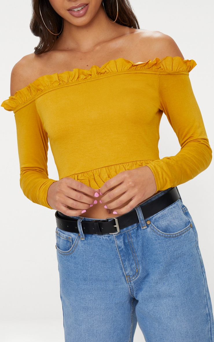 Mustard Bardot Frill Jersey Crop Top  5