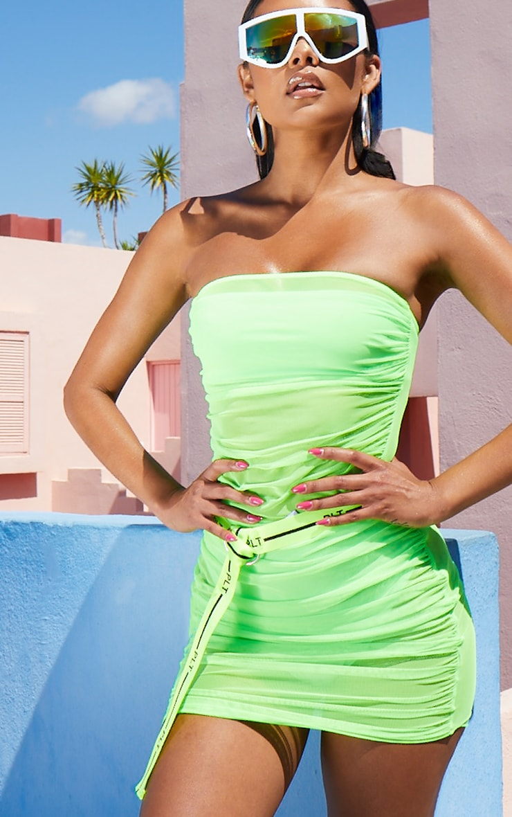 Neon Lime Ruched Mesh Dress 5