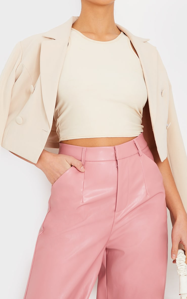 Petite Pink Faux Leather Wide Leg Pants 4