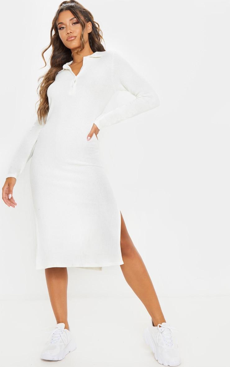 White Brushed Rib Polo Neck Long Sleeve Split Hem Midi Dress
