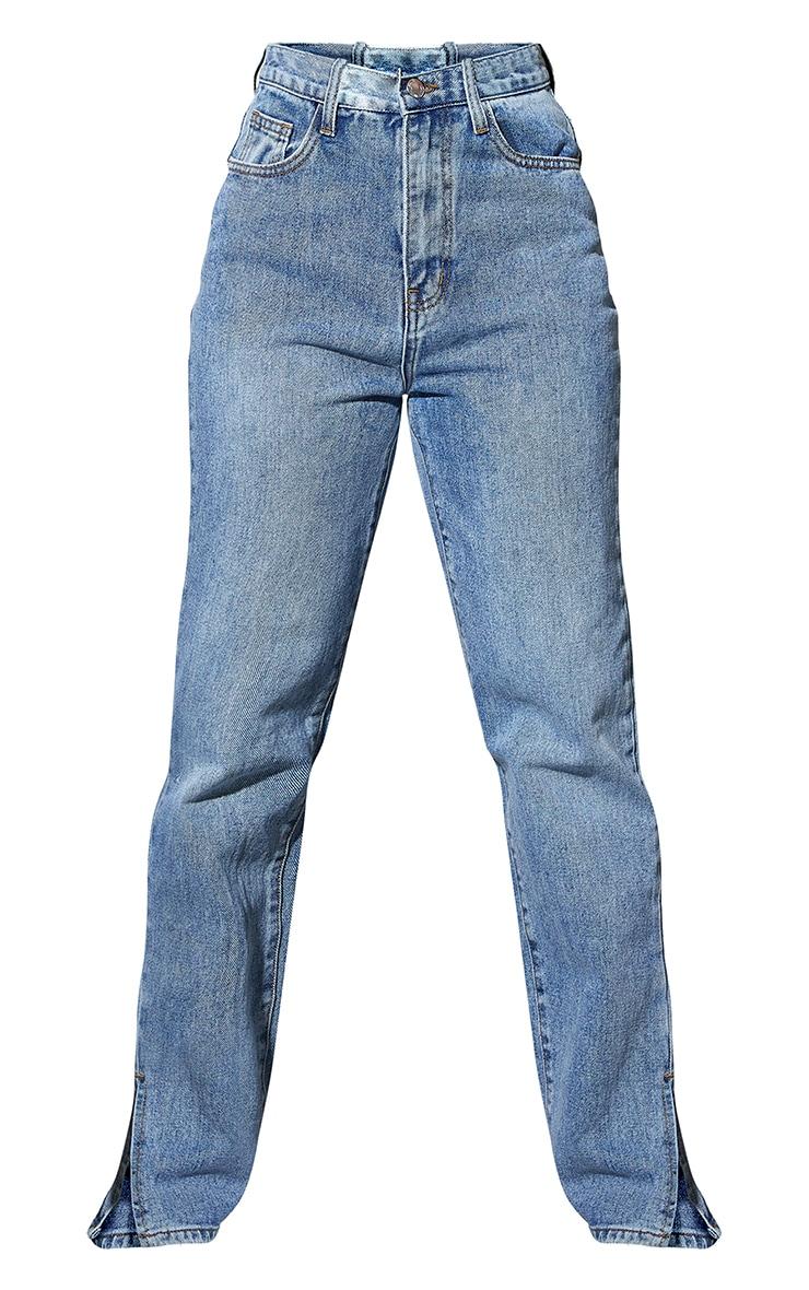 Petite Blue Light Wash Ripped Back Split Hem Jeans 5