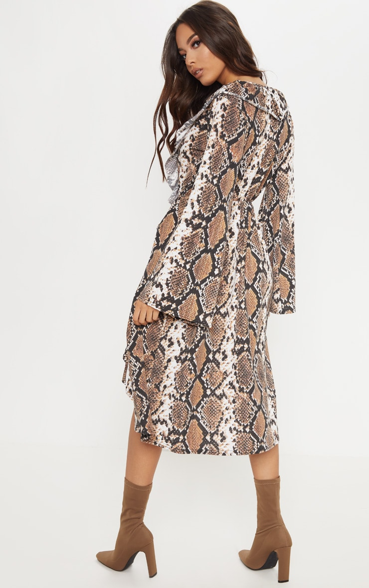 Brown Snake Print Wrap Front Frill Midi Dress 2
