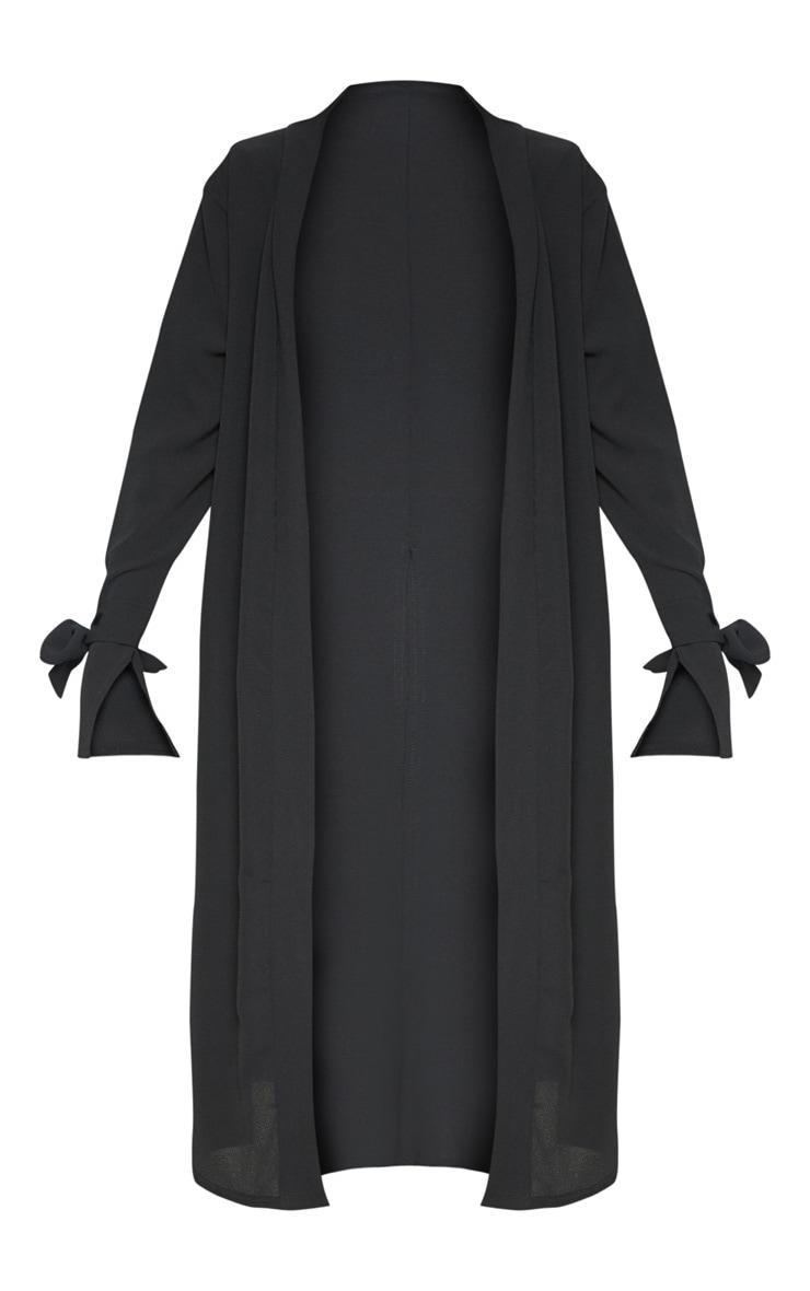 Aba Black Sleeve Tie Detail Duster Jacket 3
