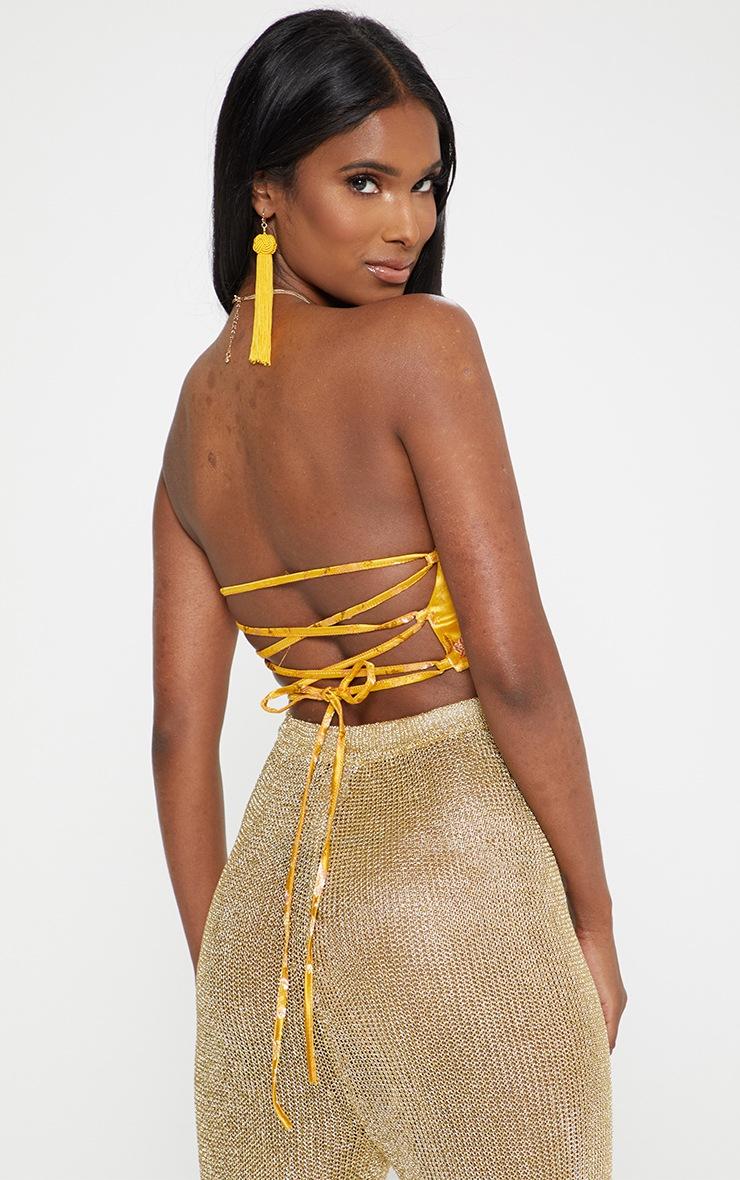 Yellow Satin Oriental Jacquard Lace Up Back Bandeau Top 2
