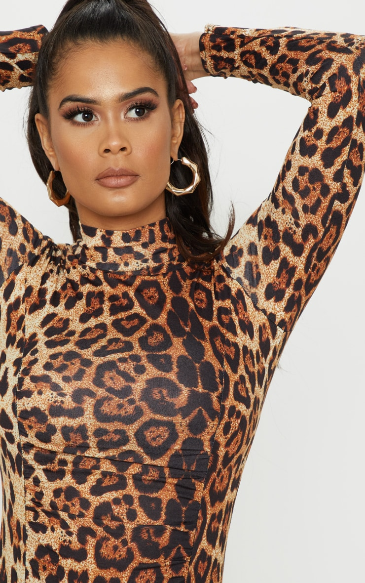 Brown Animal Print Ruched Long Sleeve Bodysuit 6