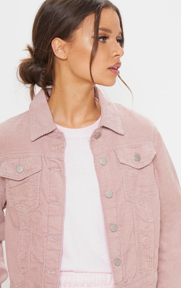 Dusty Pink Cord Cropped Denim Jacket 5