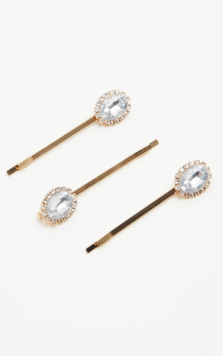 3 Pack Gold Diamante Hair Slides 3