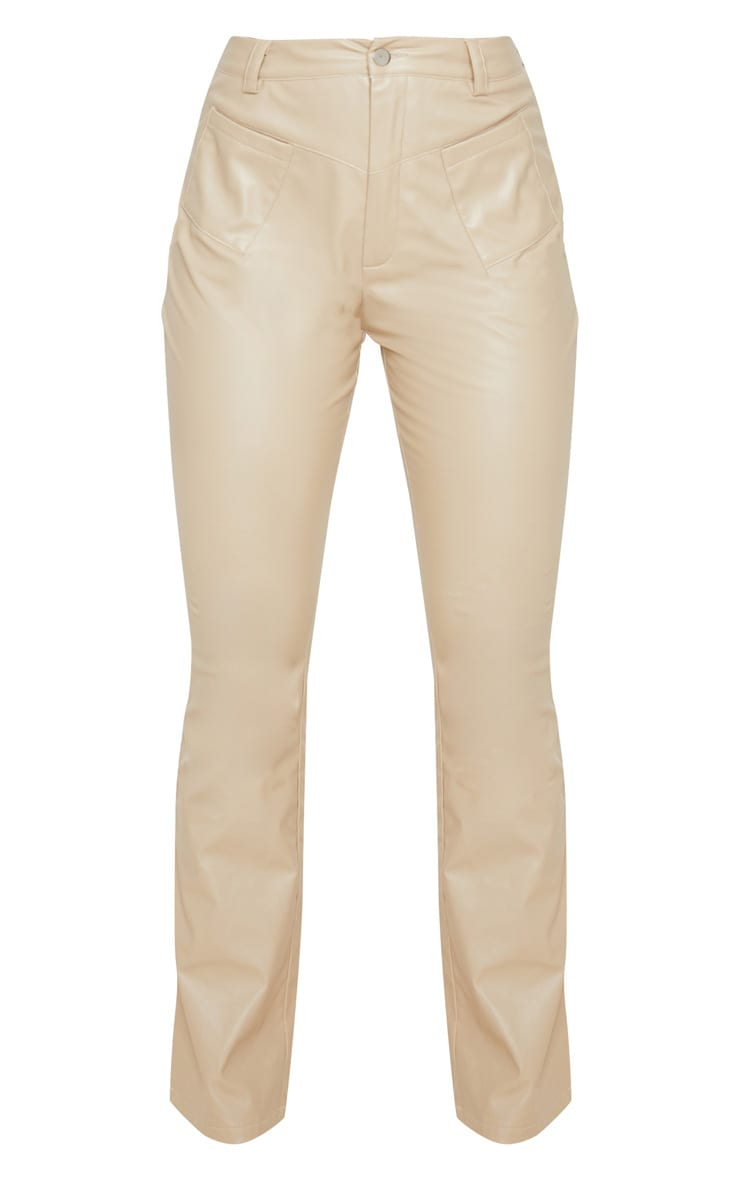 Cream Faux Leather Pocket Detail Straight Pants 3