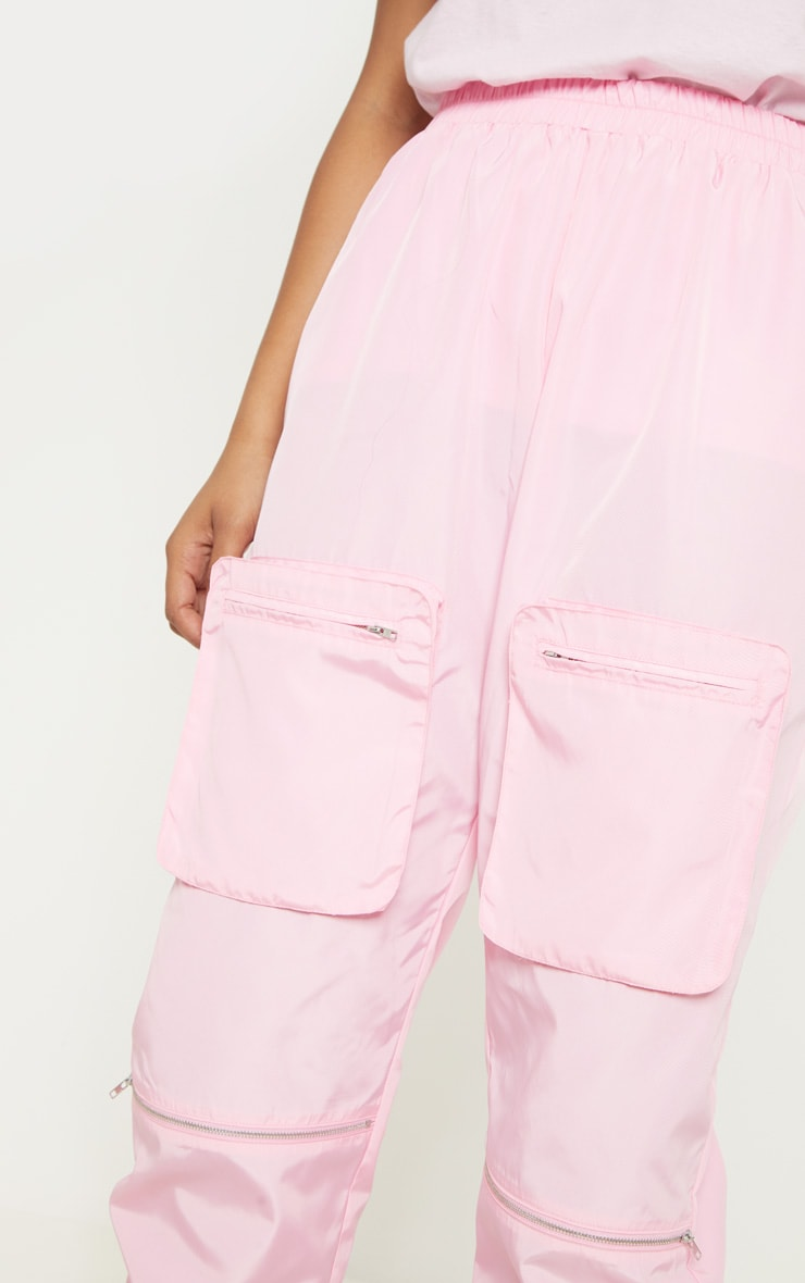 Tall Baby Pink Cargo Zip Pocket Detail Trousers 5