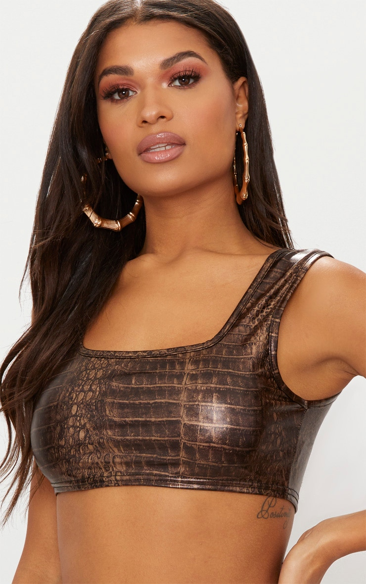 Brown Snake PU Square Neck Crop Top 5