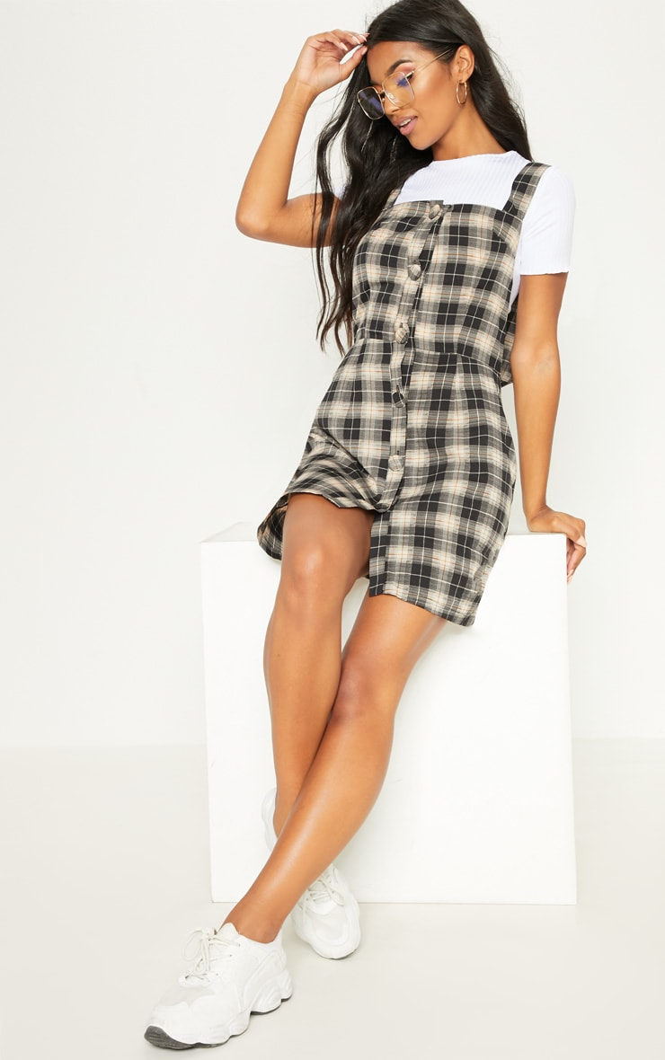 091048e3ec9 Grey Check Covered Button Pinafore Shift Dress image 1