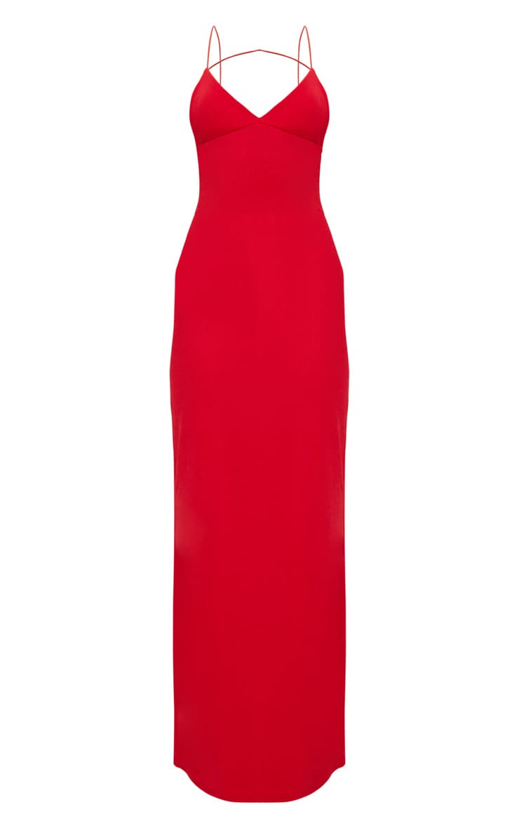 Red Strappy Detail Plunge Maxi Dress 3