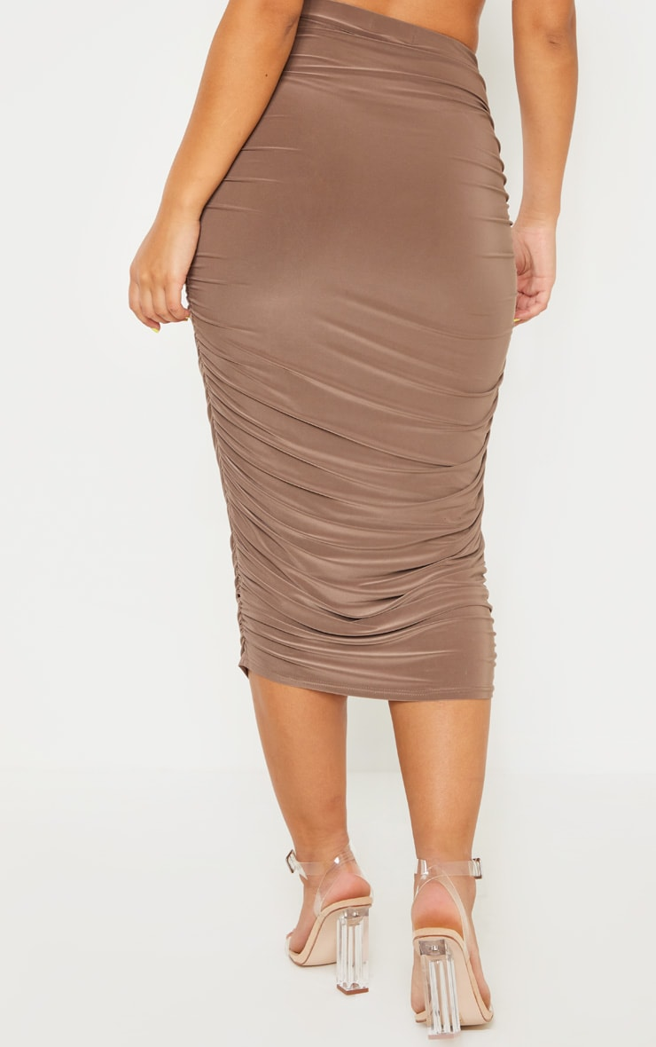 Taupe Slinky Second Skin Ruched Midi Skirt 4