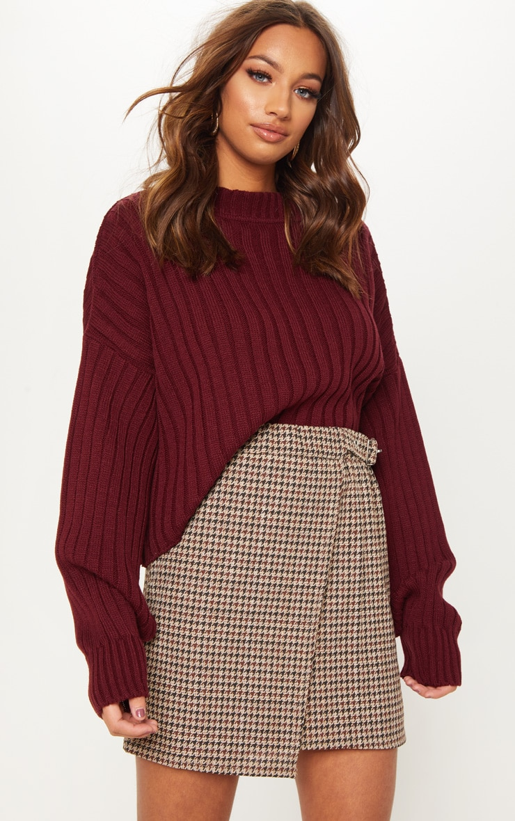 Chocolate Dogtooth Check Buckle Detail Mini Skirt