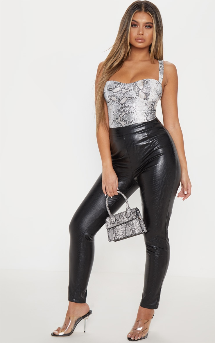 Stone Metallic Snake Strappy Cup Top