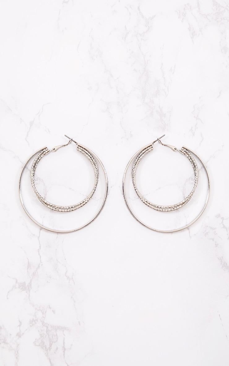 Grandes boucles d'oreilles créoles doubles argentées 3