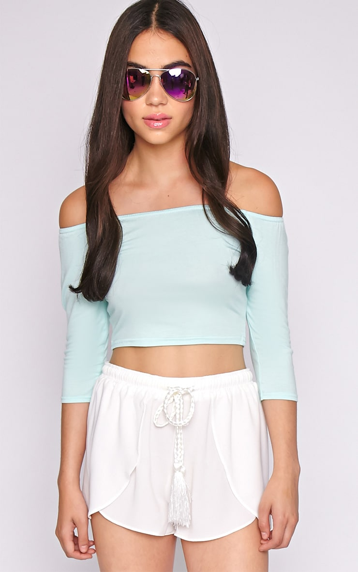 Joy Mint Bardot Crop Top  4