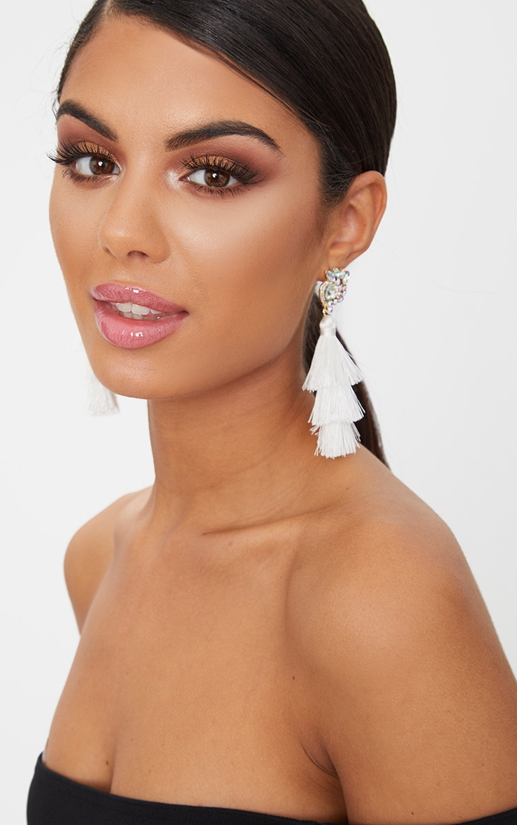 White Jewel Stud Triple Tassel Earrings