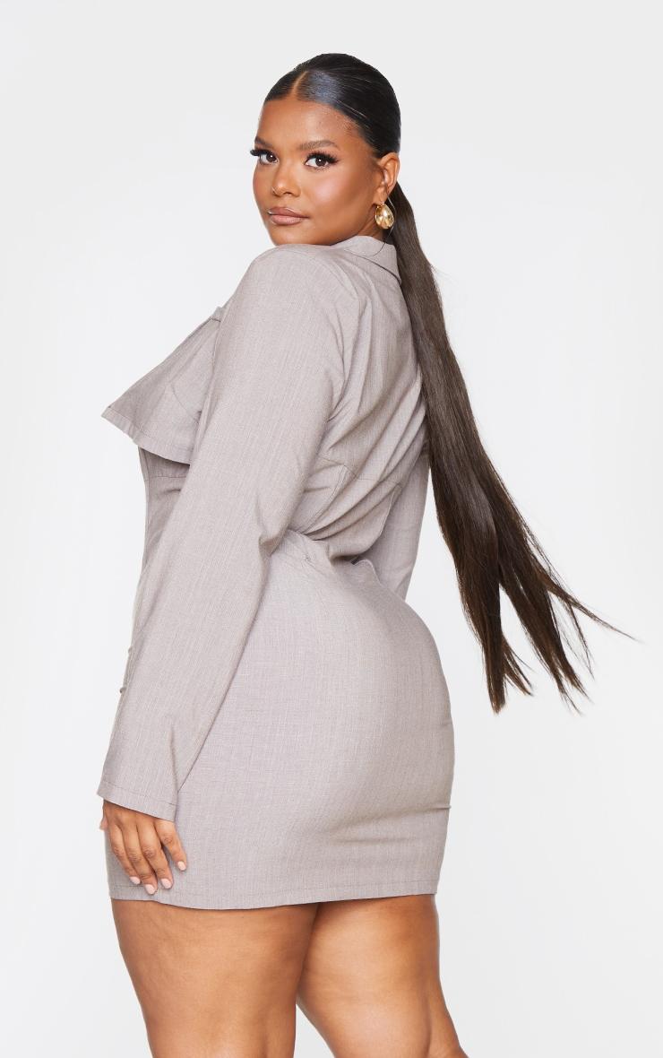 Plus Taupe Corset Style Blazer Dress 2