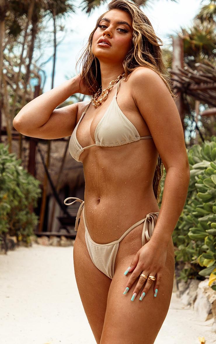 Natural Net Textured Triangle Bikini Top 3