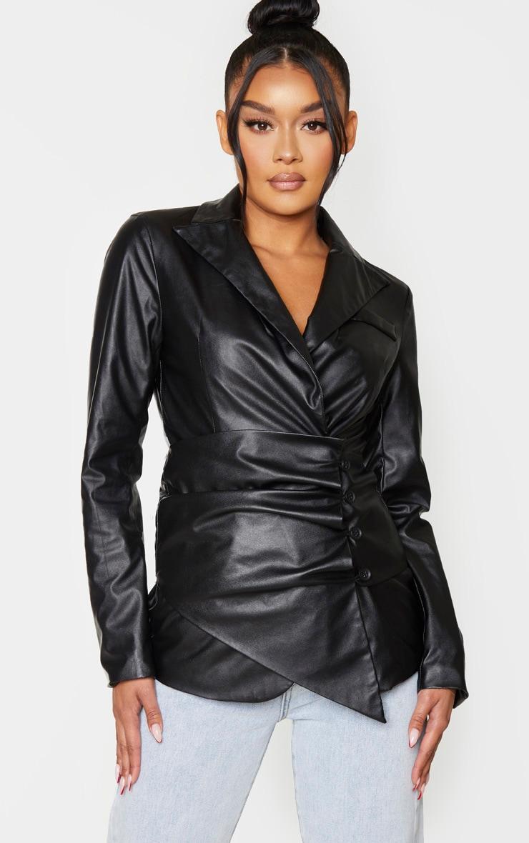 Black Faux Leather Button Waist Detail Blazer 1