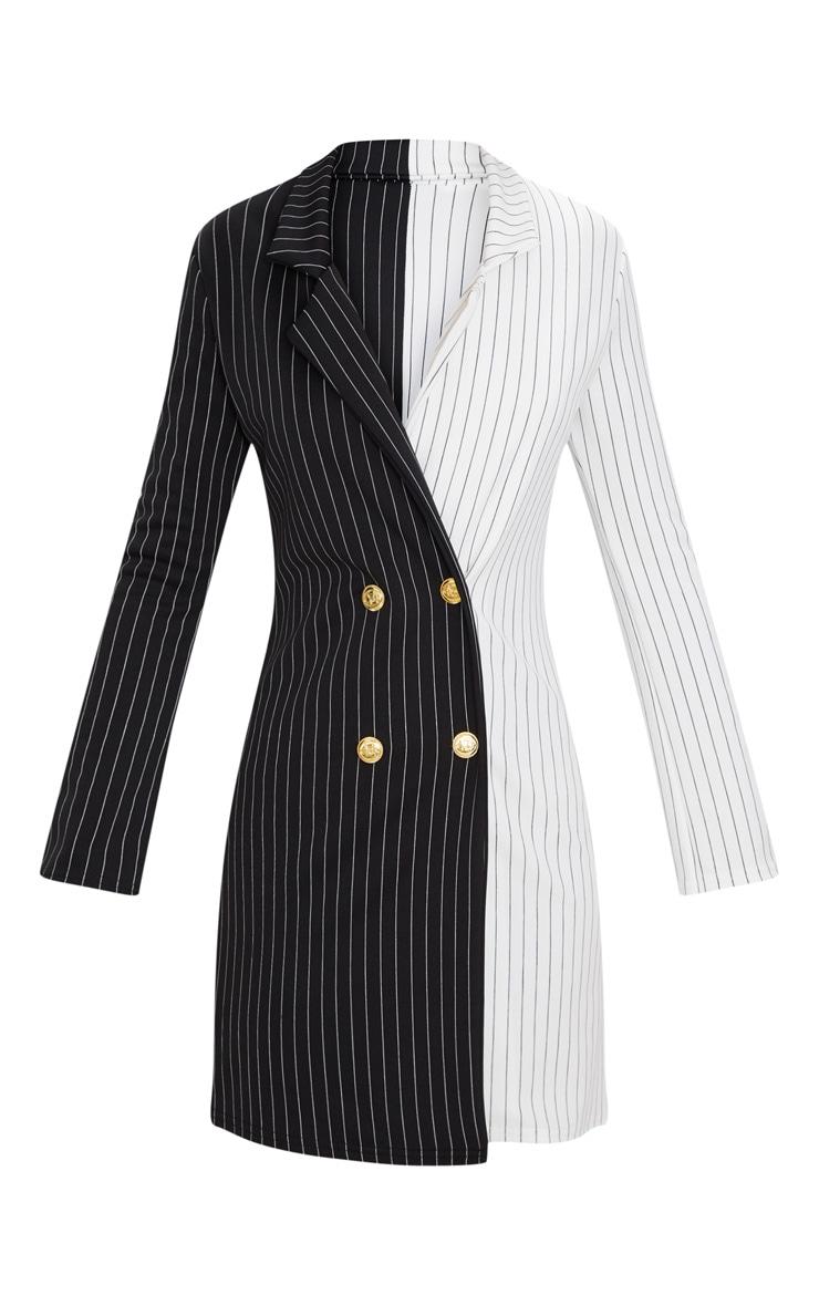 Black Stripe Contrast Detail Blazer Dress 3