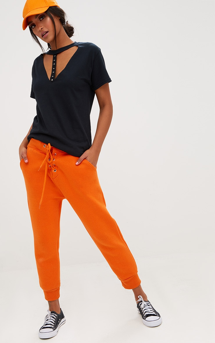 Black Stud Trim Choker Oversized T Shirt 4