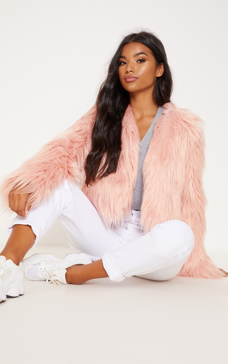Pink Shaggy Faux Fur Jacket  by Prettylittlething