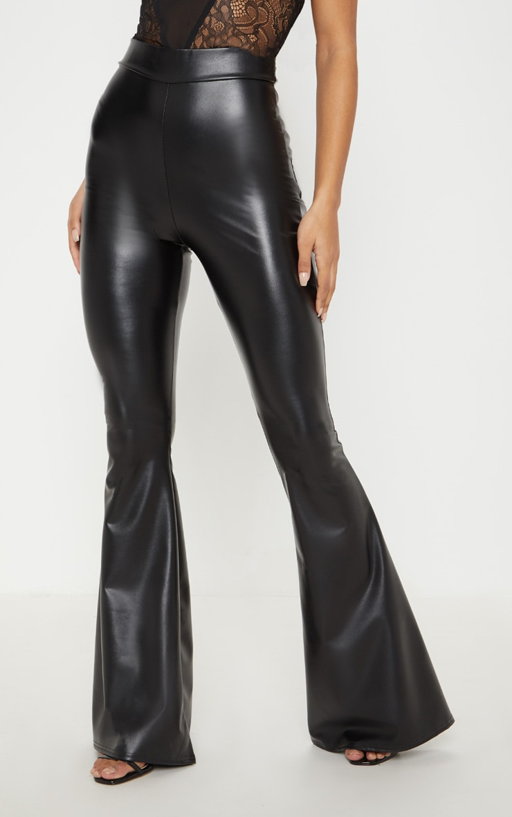 Black Faux Leather Flare Pants 2