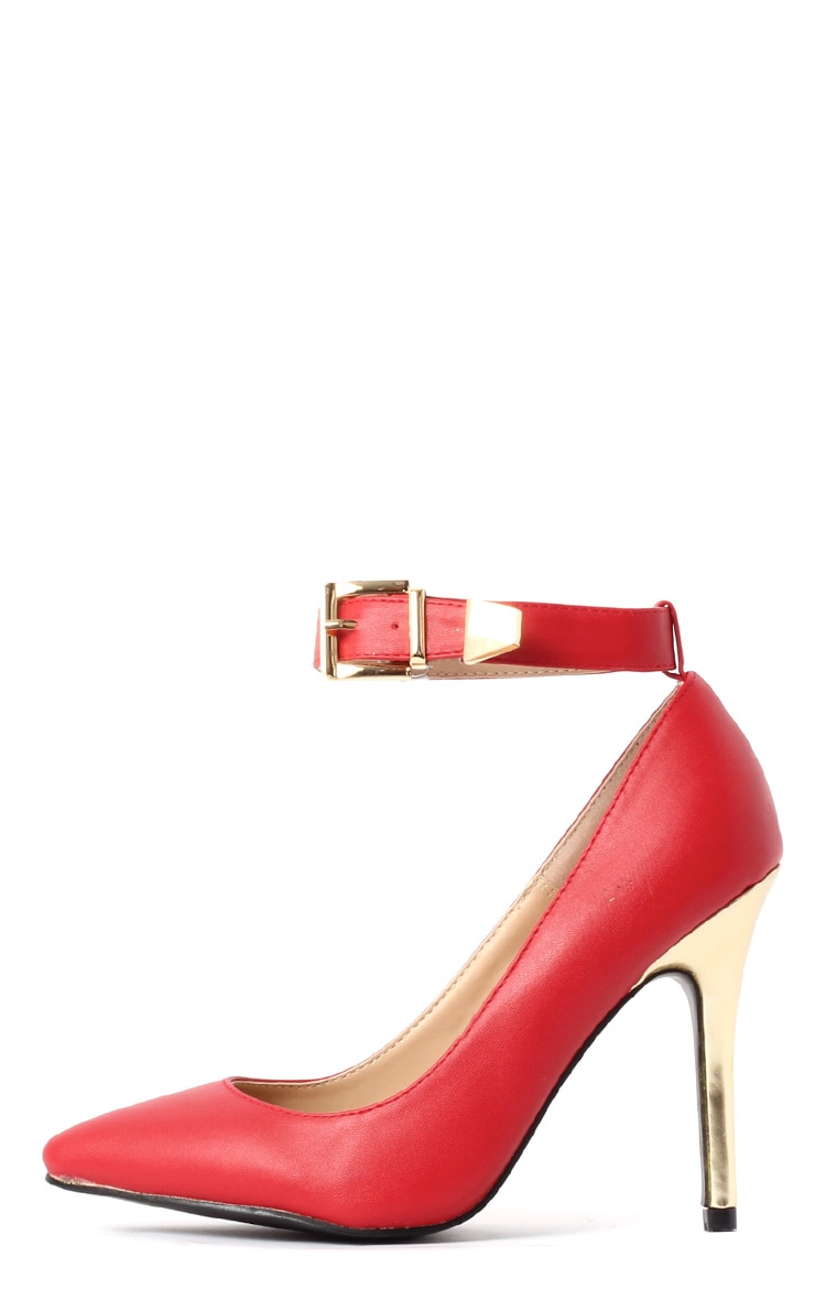 Jennie Red Ankle Strap Heels 1